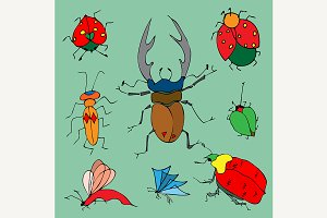 Set of colorful bugs.