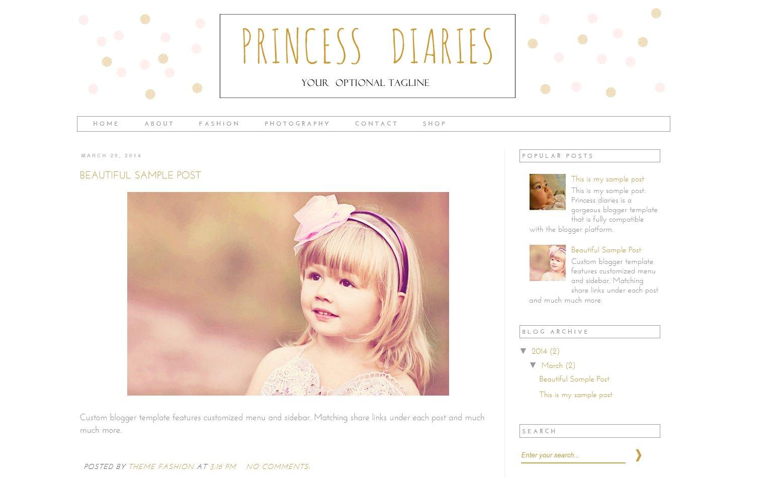 Blogger Template - Princess Diaries ~ Themes ~ Creative Market