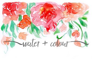 watercolour floral border