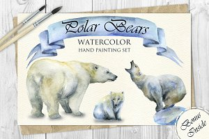Polar Bears Watercolor Set