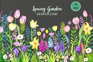 Watercolor Clipart Spring Garden