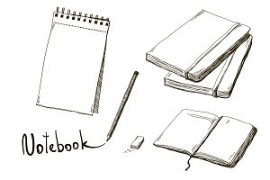 Set of hand drawn notebooks