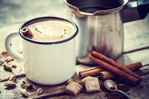 Coffee mug with cinnamon