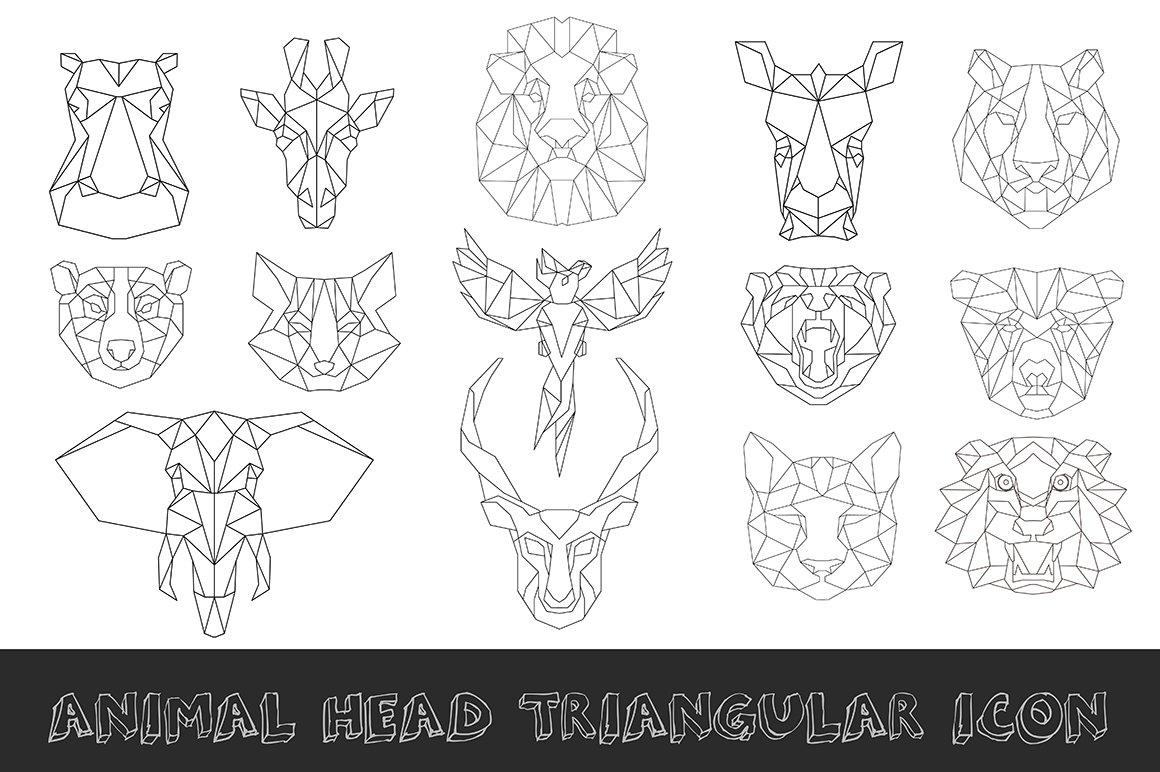 Line Drawing Animal Tattoos : Animal low poly head icon illustrations creative market