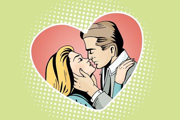 pop art kissing couple illustrations creative market