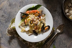 Tagliatelle pasta with mussels