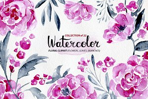 22 watercolor flowers: roses, peony