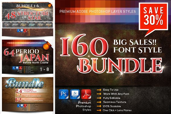 Big SALES!! 160 font styles Bundle