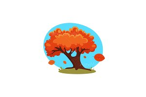 Cartoon Autumn Tree