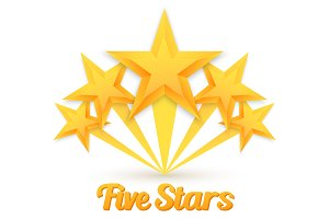Rating Gold Stars Icon Set