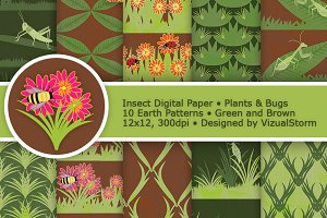 Green and Brown Insect Digital Paper