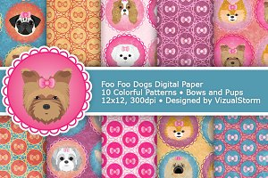 Toy Dog Digital Papers, Foo Foo Pups