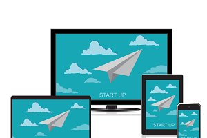 startup, paper plane, vector