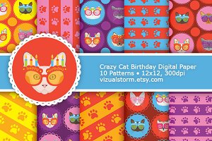 Birthday Cat Digital Paper