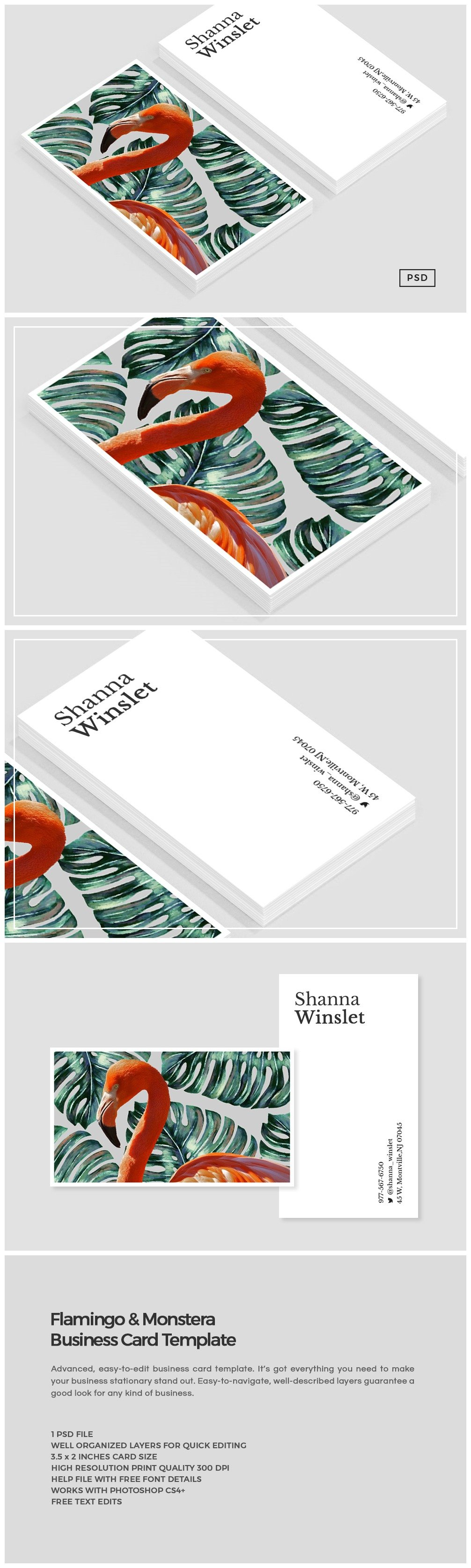 Flamingo monstera business card business card templates flamingo monstera business card business card templates creative market reheart Image collections