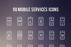 90 Mobile services Line iconset