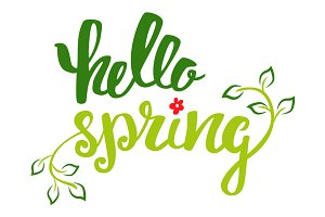 Hello spring. Hand Lettering.