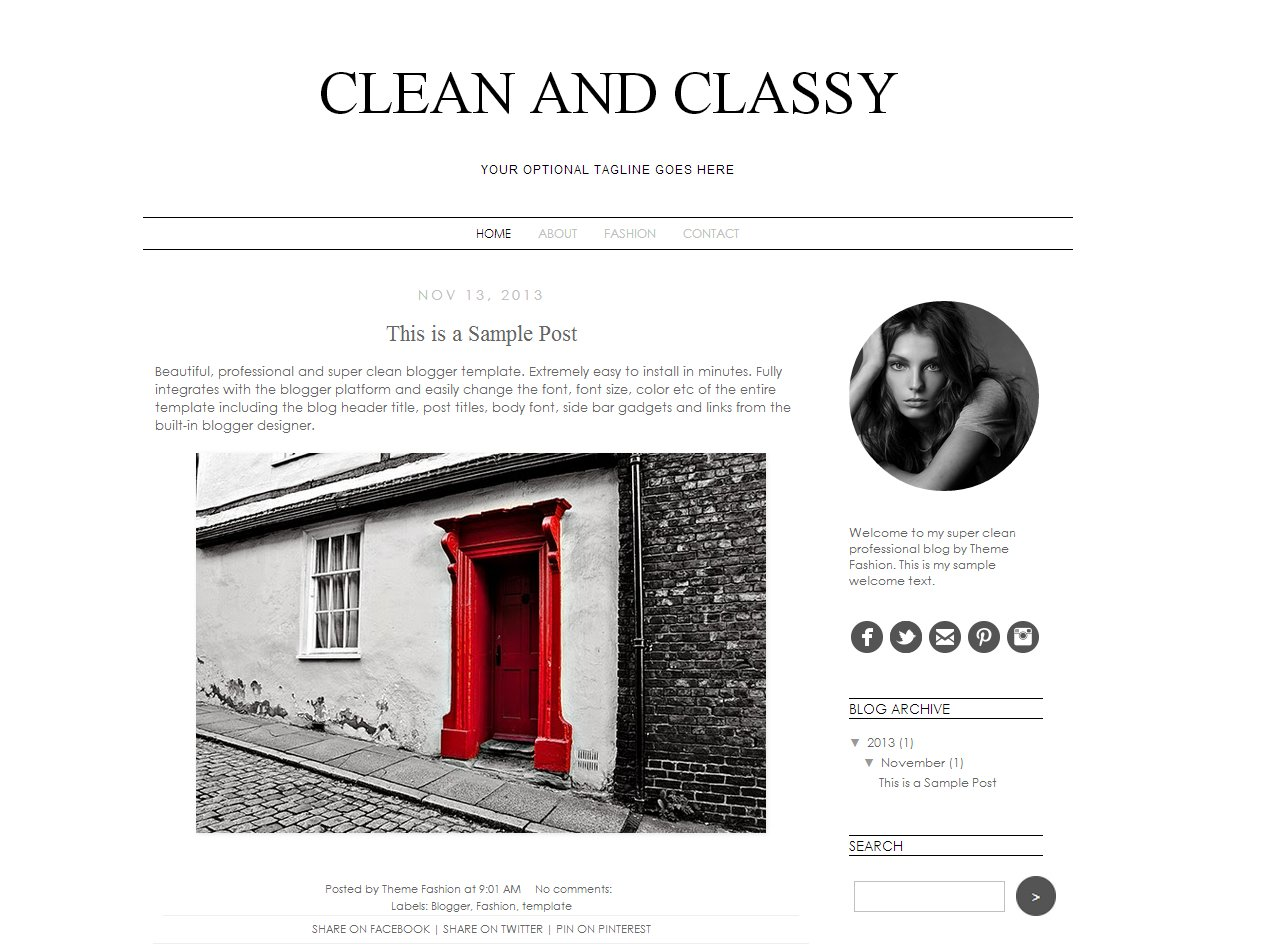 Blogger Template - Clean and Classy ~ Themes ~ Creative Market