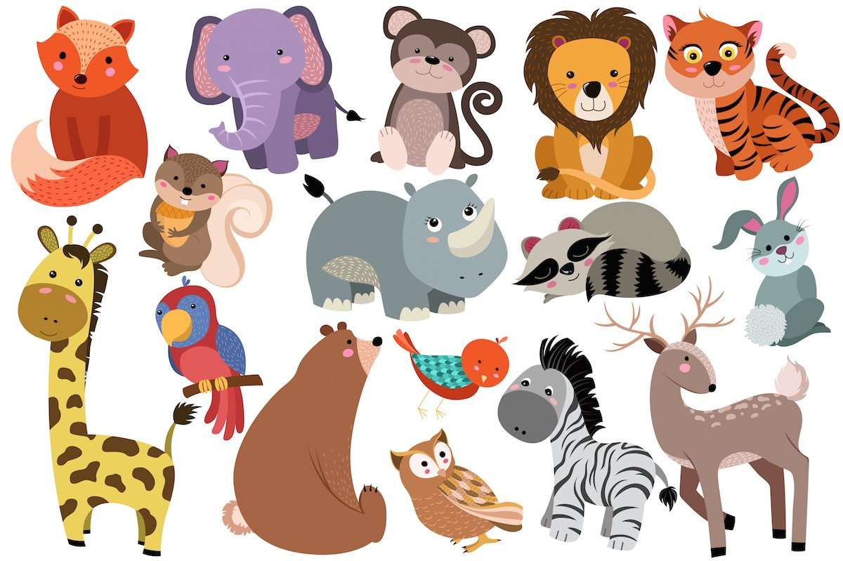 Cute Baby Animals Vector Amp PNG Pack Illustrations Creative Market