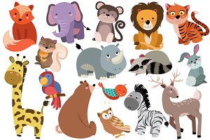 Cute Baby Animals Vector & PNG Pack