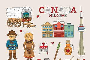 Canada travel doodle art