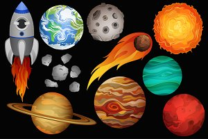 Space Clipart Vector, PNG & JPG Set