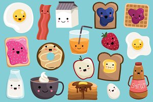 Cute Breakfast Food Vector & PNG Set