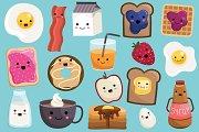 Cute Breakfast Food Vector & PNG Set