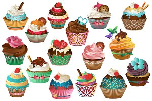 Cupcake Clipart Vector, PNG & JPG
