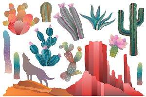 Desert & Cactus Clipart Vector, PNG