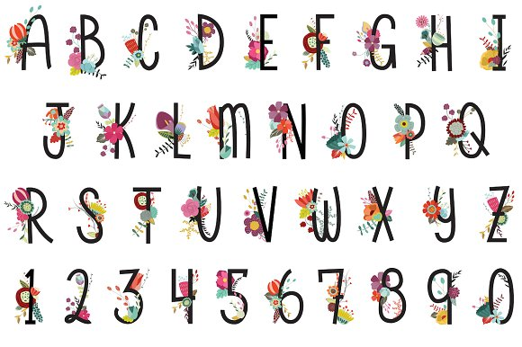 Floral Letters Numbers Vector PNG Illustrations Creative Market