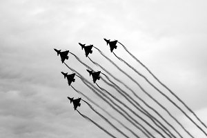 six planes.black and white