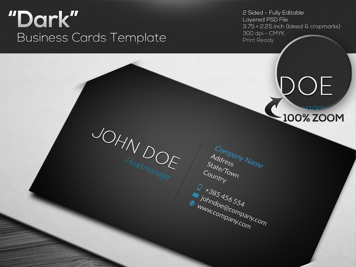 DARK Black Business Card Template Business Card Templates - Personal business cards template