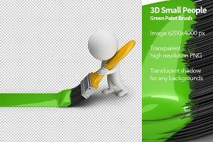 3D Small People - Green Paint Brush