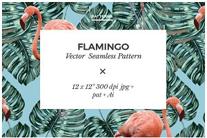 Flamingo Vector Seamless Pattern