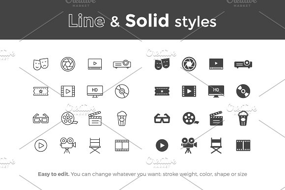 Movie and Cinema Icons in Movie Icons - product preview 1