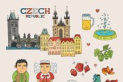 Czech travel doodle art