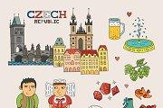 Czech travel doodle art
