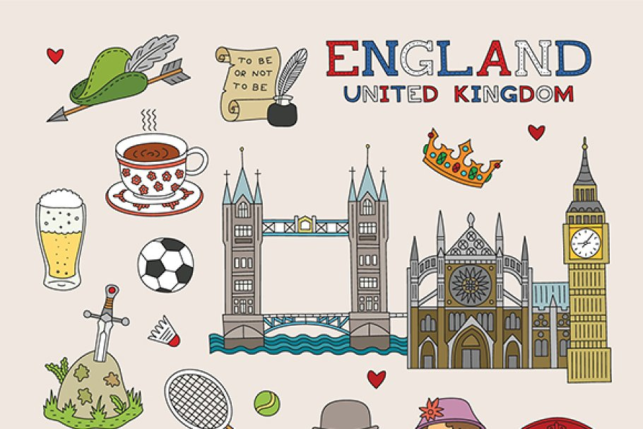 UK travel doodle art in Objects - product preview 8