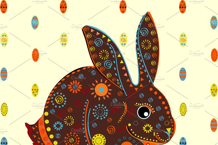 Easter Bunny eggs background vector in Illustrations - product preview 8