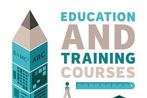 Education & training flat style