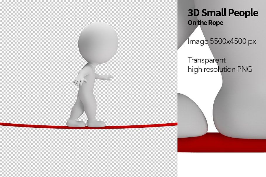 3D Small People - On the Rope in Illustrations - product preview 8