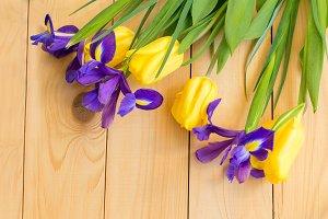 Iris and tulip spring bouquet
