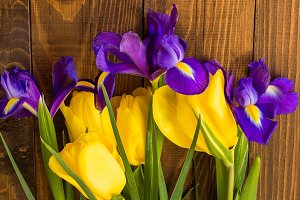 Iris and tulip spring bouquet