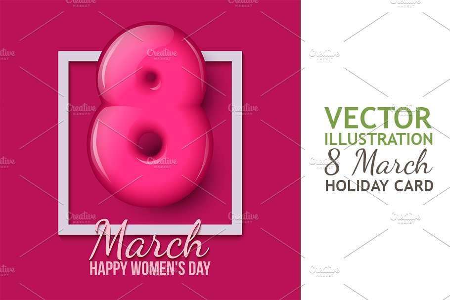 March 8. Womens Day. Creeting Card in Illustrations - product preview 8