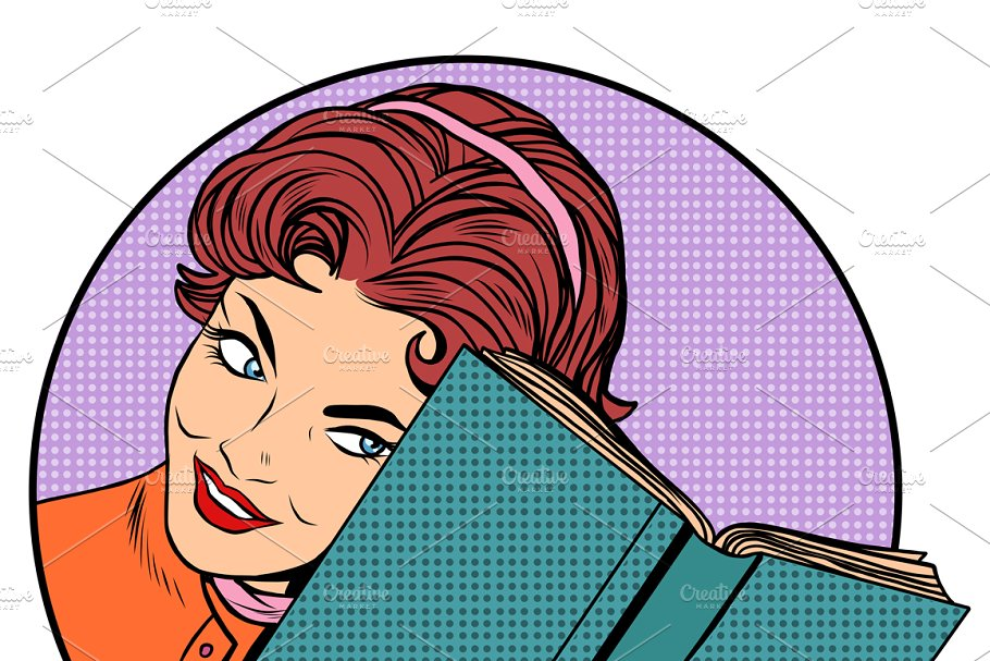 Woman with a book in Illustrations - product preview 8