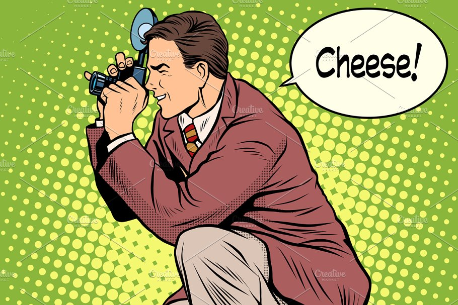Photographer cheese smile in Illustrations - product preview 8