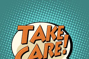 take care comic book bubble text