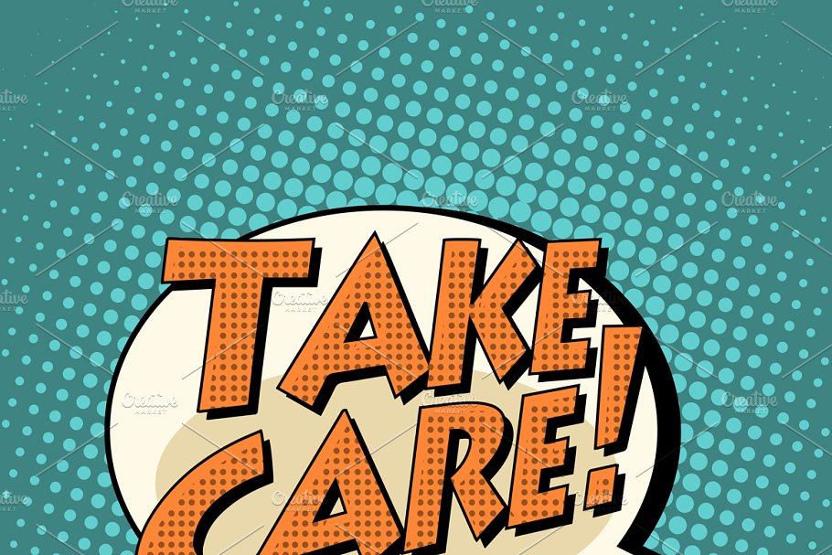 take care comic book bubble text in Illustrations - product preview 8