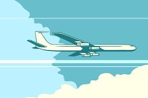 Retro airplane in the sky